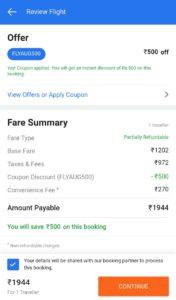 Flipkart flight offer Rs 500 off FLYAUG500