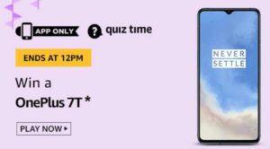 Amazon QUiz Answers Today Win OnePlus 7T