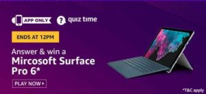 Amazon Quiz Answers Today Win Microsoft Surface Pro 6