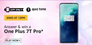 Amazon Quiz Answers Today Win OnePlus 7T Pro