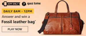 Amazon Quiz Answer Today Win Fossil Leather Bag