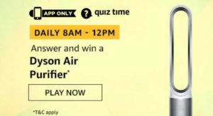 Amazon Quiz Answers Today Win Dyson Air Purifier