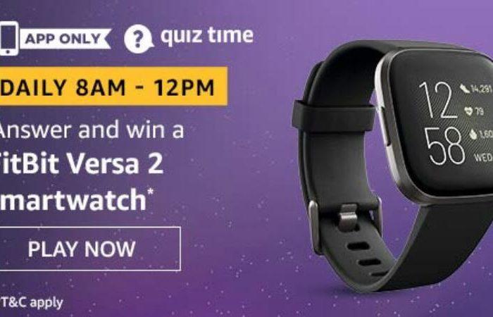 Amazon Quiz Answers Today Win FitBit Versa 2 smartwatch