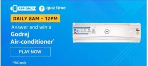 Amazon Quiz Answers Today Win Godrej Air Conditioner