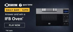 Amazon Quiz Answers Today Win IFB Oven