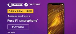 Amazon Quiz Answers Today Win Poco F1