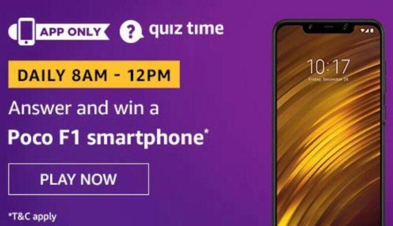 Amazon Quiz Answers Today Win Poco F1
