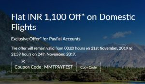 MMTPAYFEST makemytrip Paypal offer