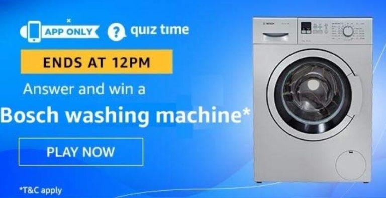 Amazon Quiz Answers Today Win Bosch Washing Machine