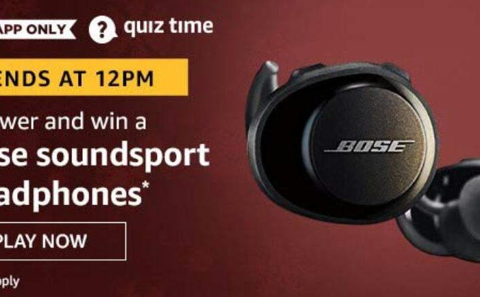 Amazon Quiz Answers Today Win Bose Soundsport headphones
