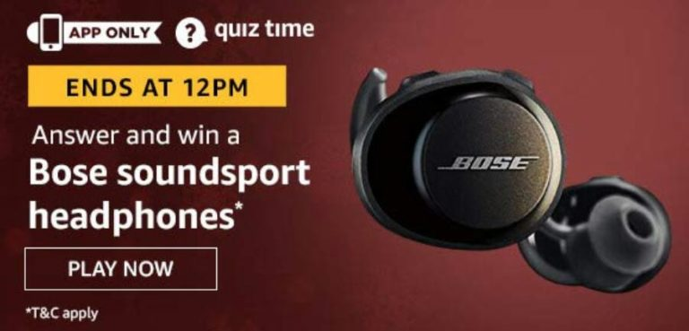 Amazon Quiz Answers Today Win Bose Soundsport headphones