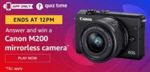 Amazon Quiz Answers Today Win Canon M200 Mirrorless Camera