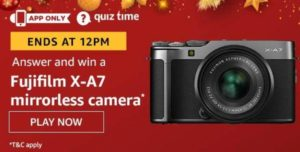 Amazon Quiz Answers Today Win Fujifilm X-A7 mirrorless camera