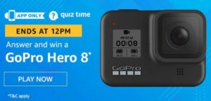 Amazon Quiz Answers Today Win GoPro Hero 8