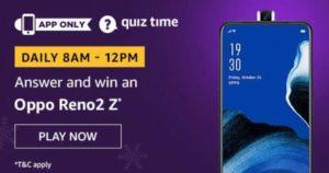 Amazon Quiz Answers Today Win Oppo Reno2 Z