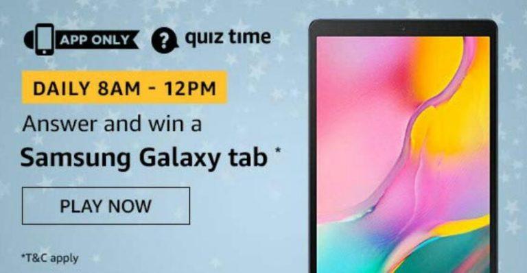 Amazon Quiz Answers Today Win Samsung Galaxy Tab