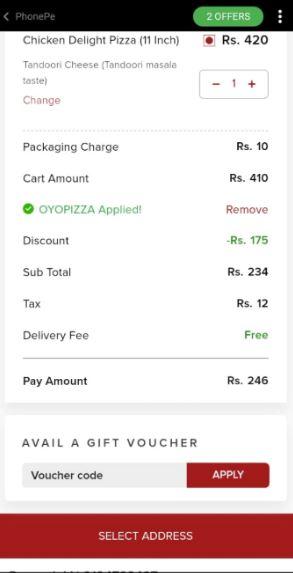 PhonePe OvenStory Cart Offer