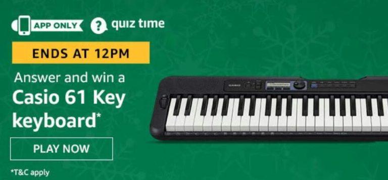 Amazon Quiz Answers Today Win Casio Keyboard