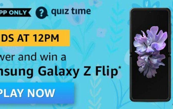 Amazon QUiz Answers Today Win Samsung Galaxy Z Flip