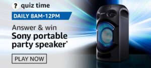 Amazon Quiz Sony Portable Party Speaker Answers
