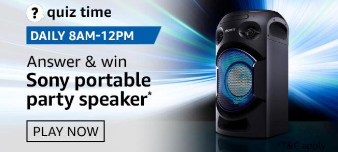 Amazon Quiz Sony Portable Party Speaker Answers