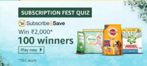 Amazon Subscription Fest Quiz Answers