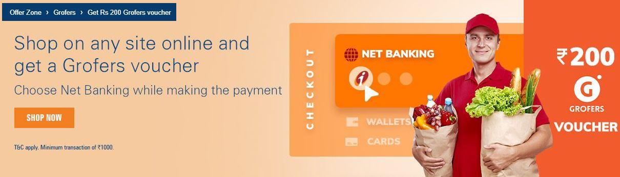 ICICI - Make Online Payment & Get Free Rs 200 Grofers Voucher - AllTrickz