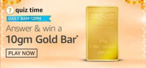 Amazon 10gm Gold Bar Quiz Answers