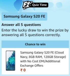 Amazon Samsung Galaxy S20 FE Quiz Answers