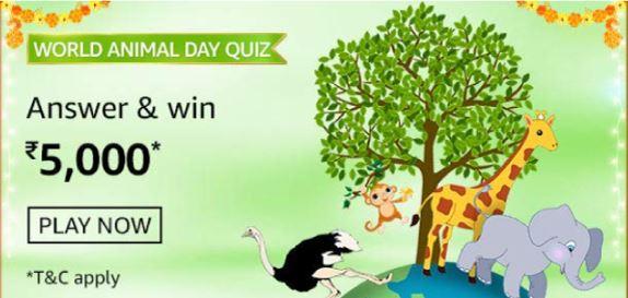 Amazon World Animal Day Quiz Answers