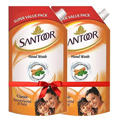 Santoor Classic Gentle Hand Wash, 750ml (Pack of 2) with Natural goodness of Sandalwood & Tulsi AllTrickz.jpg