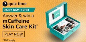 Amazon Quiz Answers Today Win mCaffeine Skin Care Kit