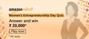 Amazon Saheli Womens Entrepreneurship Day Quiz Answers