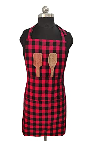 Glun Waterproof Unisex Kitchen Apron with Front Centre Pocket (RED AllTrickz.jpg