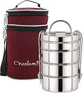 Neelam Stainless Steel Dura Hot Food Carrier 4 Tier 9 Inch Big Container Lunch Box with Insulated Carry Bag AllTrickz.jpg