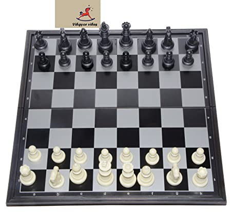 Vibgyor Vibes Folding Magnetic Chess Board Black and White 9.5 inch AllTrickz.jpg
