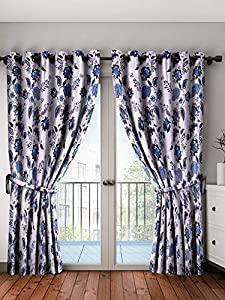 Home Spark Lotus 2 Pieces Polyester Grey Long Door Curtains   9 feet AllTrickz.jpg