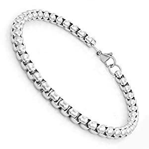 Nakabh 8 inch Stylish Chain Style Stainless Steel Bracelet for Men Boys Unisex  Silver  AllTrickz.jpg