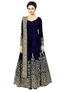 Sojitra Enterprise Womens Taffeta Silk Semi Stitched Blue colour Anarkali Gown  Free Size  AllTrickz.jpg