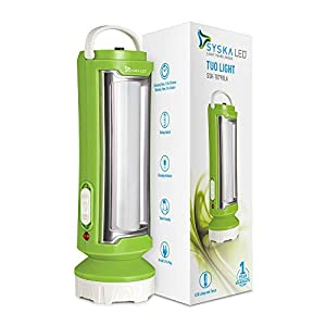 Syska T0790LA Tuo Portable Rechargeable Led Lamp Cum Torch with 4hrs Backup  Green White  AllTrickz.jpg