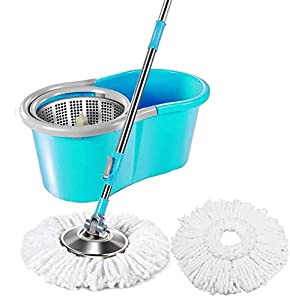 Zemic Stainless Steel Easy Clean Spin Bucket Mop with 2 Rifill  Assorted color  AllTrickz.jpg