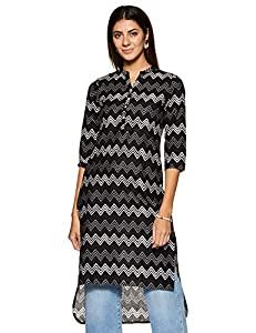 Amazon Brand   Tavasya Womens Cotton Straight Kurta  TAVK063A_Black_Large  AllTrickz.jpg
