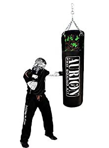 Aurion Unfilled Heavy Punch Bag 2 ft 3ft 4ft 5ft 6ft Boxing MMA Sparring Punching Training Kickboxing Muay Thai with Hanging Chain  2 feet  24inches  Unfilled AllTrickz.jpg