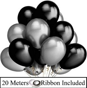 Decor My Party Solid 10 Inch Black   Silver Metallic Balloons for Birthday Party Decorations  AllTrickz.jpg