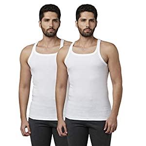 Park Avenue Solid Pattern White Cotton Combo Vest  Size AllTrickz.jpg