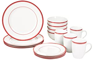 AmazonBasics 16 Piece Cafe Stripe Dinnerware Set   Red AllTrickz.jpg
