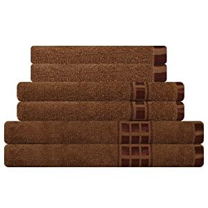 Eurospa Set of 6 Cotton Bath   Hand   Face Towel Set Brown  SPDHFCB187BNS6  AllTrickz.jpg