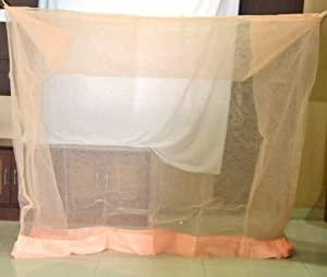 Divayanshi Polycotton Mosquito net for Bed  Peach AllTrickz.jpg