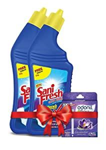 Sanifresh Ultrashine 1L   500   500  Toilet Cleaner  1.5X Extra Strong Extra Clean with Odonil Room Freshner Blocks 50 g Free AllTrickz.jpg