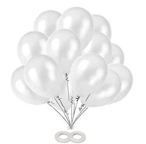 AMFIN White Metallic Balloons for Birthday Decoration  10 Inch    Pack Of 50 AllTrickz.jpg
